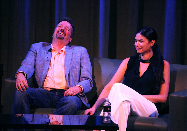 """Las Vegas Strip headliner Terry Fator, left, and his wife, Taylor, laugh during the first """"Conversations with Norm"""" in the Cabaret Jazz Theater at the Smith Center on Sunday. (Justin Yurkanin)"""