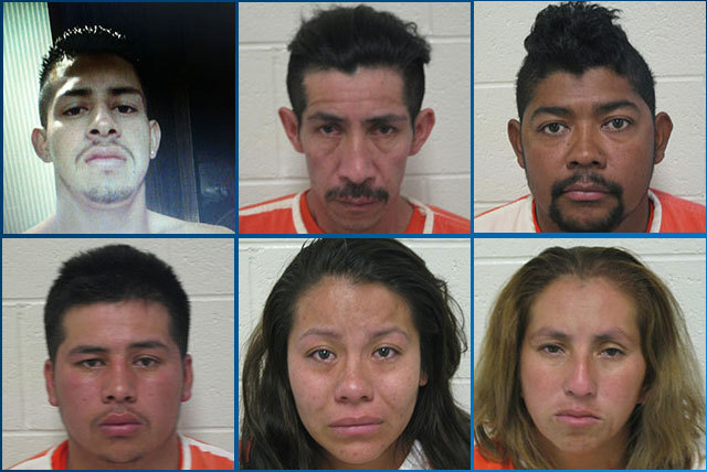 """The Nye County Sheriff's Office is searching for Cesar """"Tijuana"""" Morales-Moreno, upper left, in connection with a shooting death Thursday in Amargosa Valley. Five others were arrested and charged  ..."""