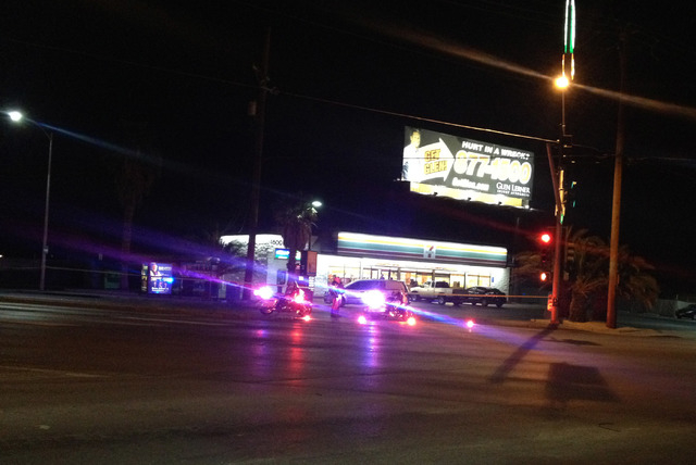 Las Vegas police investigate an officer-involved shooting that took place late Tuesday night near the intersection of Rancho and Vegas Drives. (Steven Slivka/Las Vegas Review-Journal)