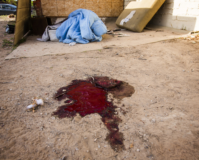 A pool of blood near a makeshift bed is seen Monday behind a building at 800 N. Tonopah after a man was killed in an officer-involved shooting in North Las Vegas. The Clark County coroner's office ...