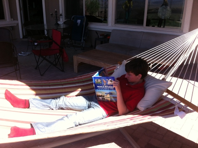 devon kisfalvi sits in his hammock at home while he does school work  devon has virtual education is a good fit for henderson  petitive swimmer      rh   reviewjournal