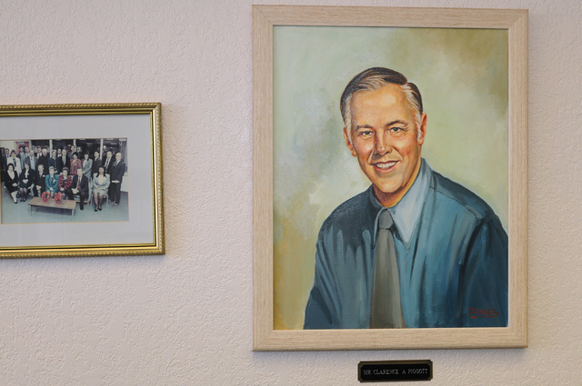 A painting of Clarence A. Piggott is seen at the entrance of the elementary school named for him. The portrait was given to the school as a gift for its 1993 opening. (Erik Verduzco/View)