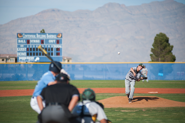 Rancho sophomore Richie Coughlin delivers a pitch against Centennial on Friday. (Martin S. Fuentes/Las Vegas Review-Journal)