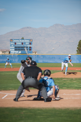 Centennial senior James Harbour delivers a pitch against Rancho on Friday. Harbour allowed four earned runs on seven hits in 5 2/3 innings. He struck out nine and walked three to get the win. (Mar ...