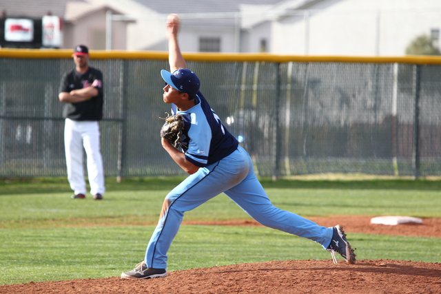 Foothill's Tyler Van Stone throws a pitch against Las Vegas High on Thursday. Van Stone threw three shutout innings of relief to earn a save, and Foothill won the game, 3-0. (Chase Stevens/Las Veg ...