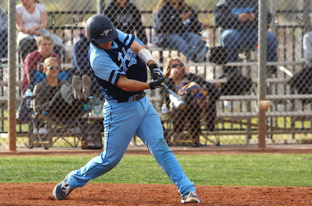 Foothill's Zack Avery takes a swing against Las Vegas High on Thursday. Foothill won the game, 3-0. (Chase Stevens/Las Vegas Review-Journal)