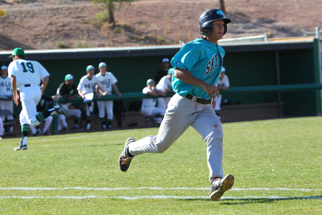 Silverado's Chase Cortez (10) runs to first base against Palo Verde on Friday. Silverado won the game 11-8. (Chase Stevens/Las Vegas Review-Journal)