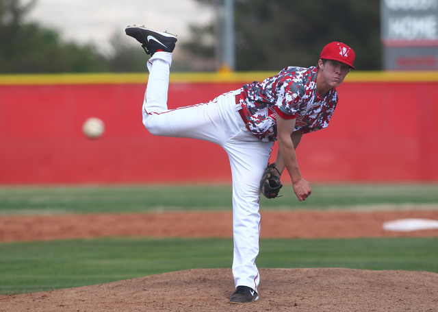 Arbor View's Sam Pastrone pitches against Faith Lutheran on Saturday. Pastrone allowed two runs on six hits with five strikeots as Arbor View won, 6-2. (Chase Stevens/Las Vegas Review-Journal)