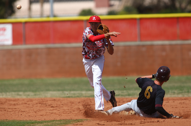Arbor View's Jayce Gardner (27) turns a double play after forcing Faith Lutheran's Thomas Beatty (6) at second base to end the second inning on Saturday. Arbor View won, 6-2. (Chase Stevens/Las Ve ...