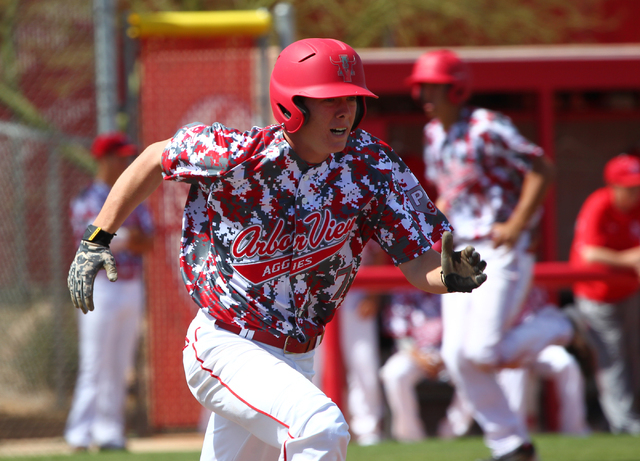 Arbor View's Sam Pastrone runs for first base against Faith Lutheran on Saturday. Pastrone was 2-for-4 with an RBI and was the winning pitcher as the Aggies beat the Crusaders, 6-2. (Chase Stevens ...