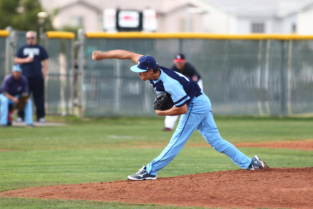 Foothill pitcher Nick Cardinale throws the a pitch against Las Vegas High on Thursday. Cardinale threw four perfect innings, and Foothill won the game, 3-0. (Chase Stevens/Las Vegas Review-Journal)