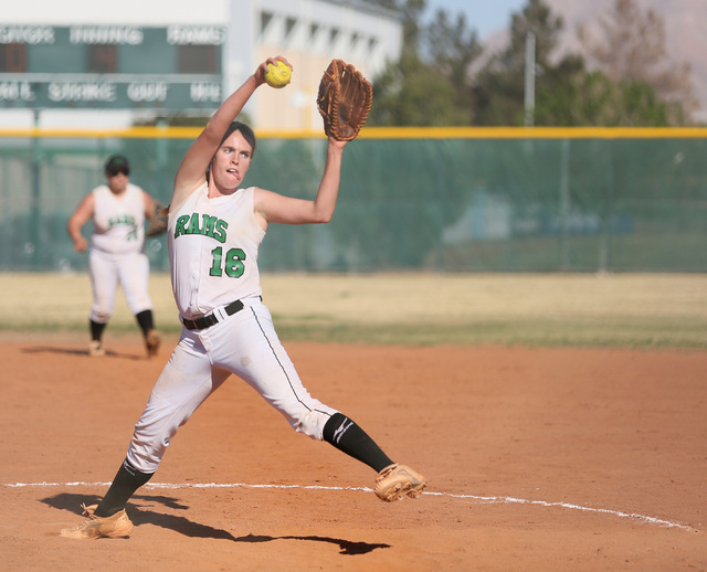 Rancho's Samantha Pochop prepares to deliver a pitch during the Rams' 7-0 win over Durango on Monday. Pochop tossed a four-hitter and struck out 12. (Ronda Churchill/Las Vegas Review-Journal)