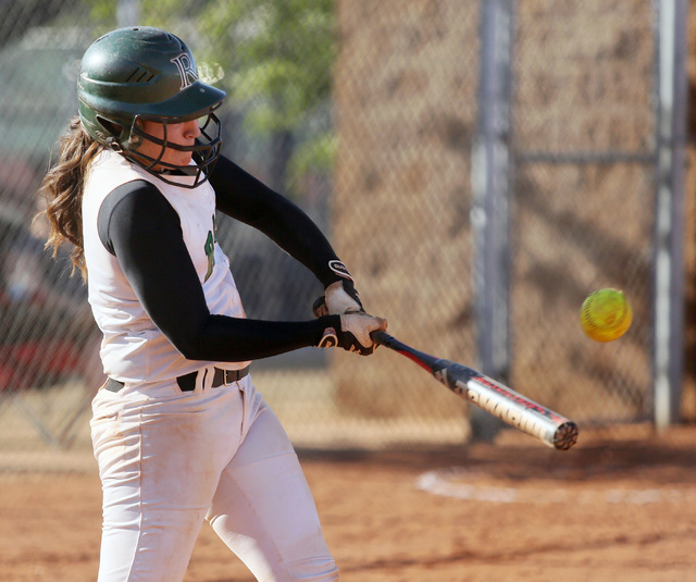 Rancho's McKinzi Vega takes a swing during the Rams' 7-0 win over Durango on Monday. Vega was 2-for-3 with a triple, a double and two RBIs. (Ronda Churchill/Las Vegas Review-Journal)