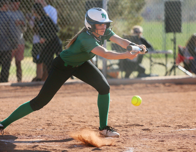 Palo Verde senior Breanna Beatty bunts during a game against Green Valley on Tuesday. Beatty was 1-for-2 with two RBIs as Palo Verde won, 5-0. (Ronda Churchill/Las Vegas Review-Journal)