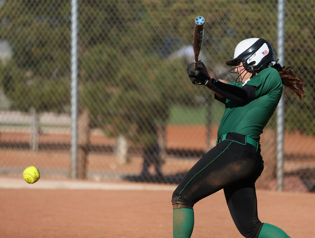 Palo Verde senior Rachel Williams hits the ball during a game against Green Valley on Tuesday. Williams was 1-for-3 with two runs as Palo Verde won, 5-0. (Ronda Churchill/Las Vegas Review-Journal)
