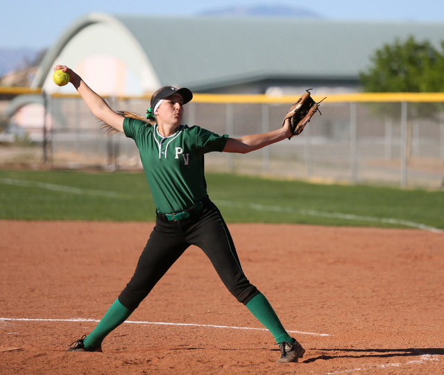 Palo Verde freshman Haylee Lupinetti pitches during a game against Green Valley on Tuesday. Lupinetti threw a four-hitter with seven strikeouts as Palo Verde won, 5-0. (Ronda Churchill/Las Vegas R ...