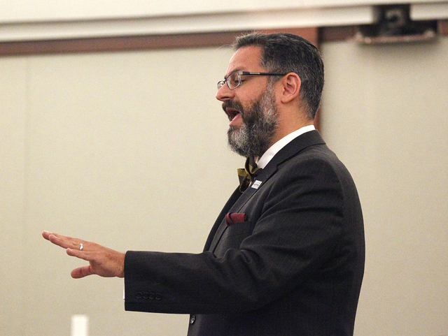 Jacob Hafter, attorney for Donald Thompson, the managing owner of Prince and Princess Pet Boutique, argues in  Judge Kenneth C. Cory's courtroom on Tuesday. (Justin Yurkanin/Las Vegas Review-Journal)