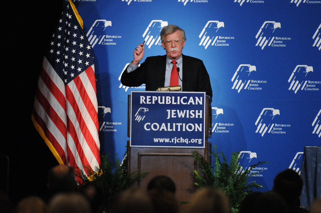 John Bolton, former U.S. Ambassador to the United Nations, speaks during the Republican Jewish Coalition's annual conference at the Venetian casino-hotel in Las Vegas Saturday, March 29, 2014. (Er ...
