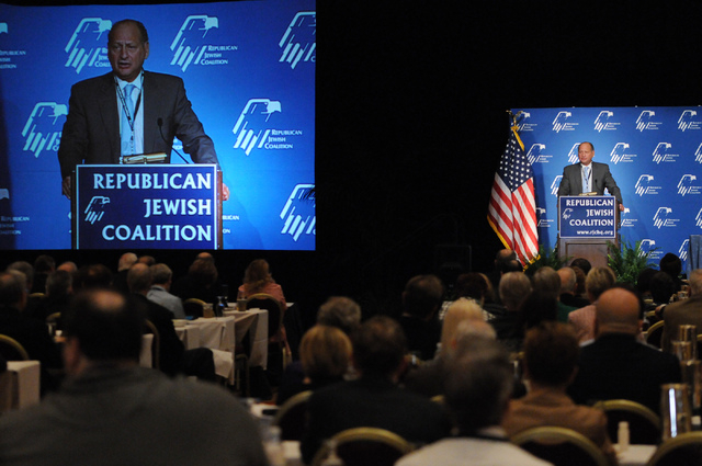 David Flaum, chairman at the Republican Jewish Coalition, welcomes attendees during the Republican Jewish Coalition's annual conference at the Venetian casino-hotel in Las Vegas Saturday, March 29 ...
