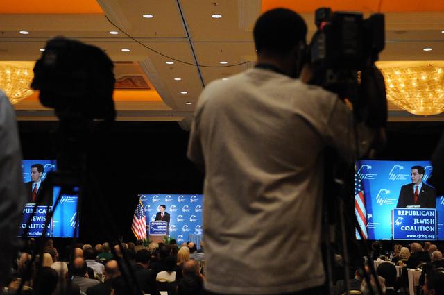 Wisconsin Gov. Scott Walker speaks during the Republican Jewish Coalition's annual conference at the Venetian casino-hotel in Las Vegas Saturday, March 29, 2014. (Erik Verduzco/Las Vegas Review-Jo ...