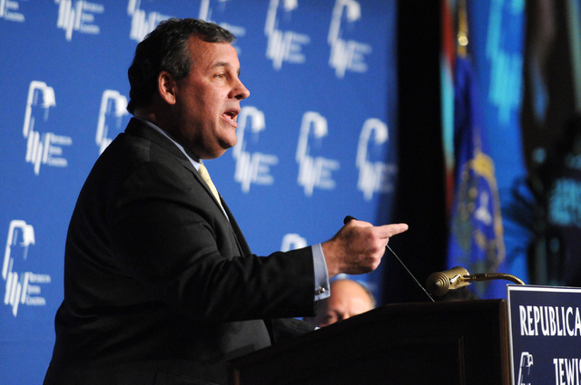 New Jersey Gov. Chris Christie speaks during the Republican Jewish Coalition's annual conference at the Venetian casino-hotel in Las Vegas Saturday, March 29, 2014. (Erik Verduzco/Las Vegas Review ...