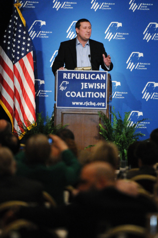 Andy Barkett, technology officer at the Republican Jewish Coalition, speaks during the Republican Jewish Coalition's annual conference at the Venetian casino-hotel in Las Vegas Saturday, March 29, ...