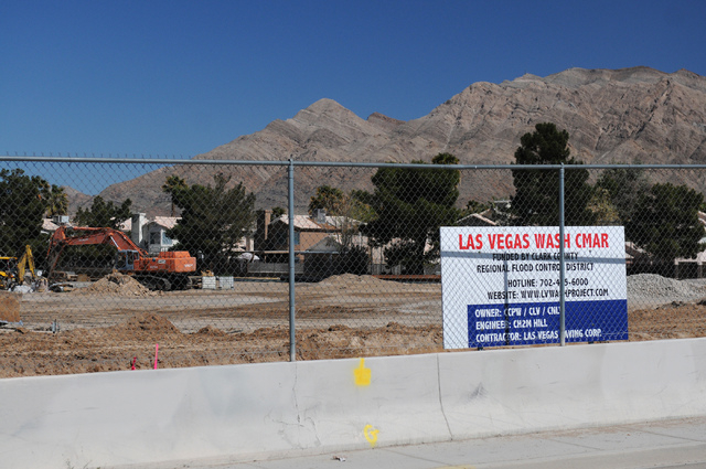 The construction site at the Las Vegas Wash on East Sahara Avenue near the Desert Rose Golf Course in Las Vegas is seen on Tuesday, March 11, 2014. Clark County is demolishing and lengthening the  ...