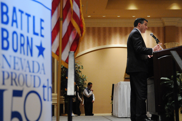 Keynote speaker Gov. Brian Sandoval addresses attendees during the Nevada Taxpayer Association's 92nd annual luncheon at the Orleans casino-hotel in Las Vegas Tuesday, March 4, 2014. (Erik Verduzc ...