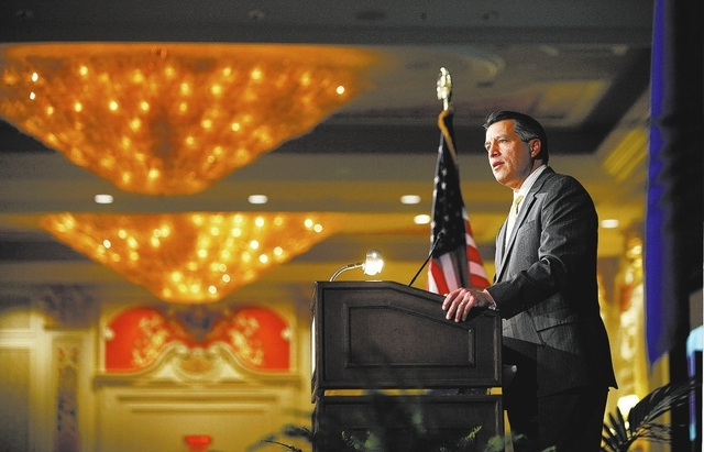 Nevada Governor Brian Sandoval speaks at a joint chambers of commerce luncheon at the Venetian in Las Vegas Thursday, Feb. 13, 2014. (John Locher/Las Vegas Review-Journal)