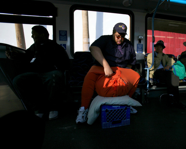 JEFF SCHEID/LAS VEGAS REVIEW-JOURNAL Wesley Warren sits down on a bus in downtown Las Vegas  on October 4, 2011. Warren has a condition called scrotal edema.