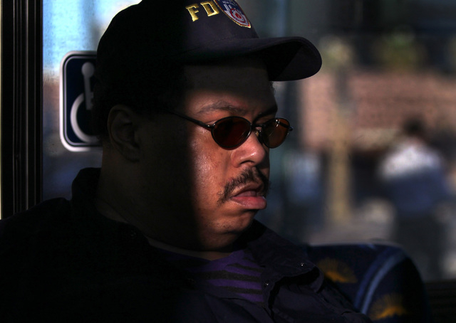 JEFF SCHEID/LAS VEGAS REVIEW-JOURNAL Wesley Warren rides the bus in downtown Las Vegas on October 4, 2011. Warren has a condition called scrotal edema.