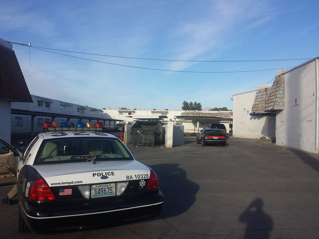 One person was shot Tuesday morning at this apartment complex on West Bonanza Road and was taken to University Medical Center in critical condition. (Colton Lochhead/Las Vegas Review-Journal)