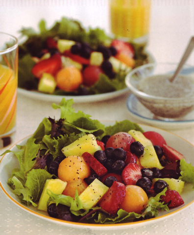 Fresh fruit salad with poppyseed dressing