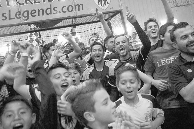 Las Vegas Legends players and their fans celebrate their Professional Arena Soccer League quarterfinal victory over San Diego at the Las Vegas Sportspark on March 1, 2014. The Legends defeated the ...