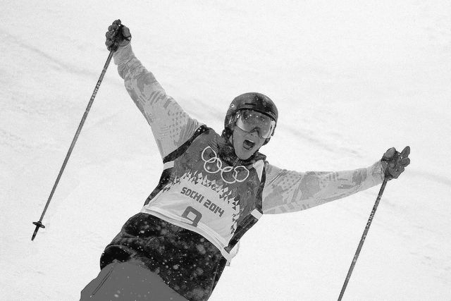 David Wise, of the United States, reacts after competing in the men's ski halfpipe final at the Rosa Khutor Extreme Park, at the 2014 Winter Olympics, Tuesday, Feb. 18, 2014, in Krasnaya Polyana,  ...