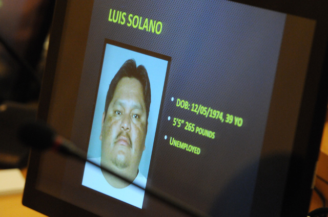 The photo of Luis Solano is displayed on a screen during a public hearing on his death at the Commission Chambers inside the Clark County Government Center in Las Vegas Thursday, Feb. 6, 2014. Sol ...