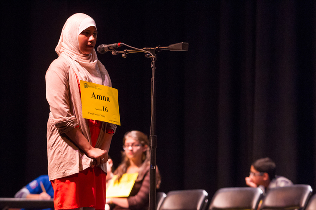 Thirteen-year-old and 2013 champion Amna Raza of Clark County competes in the fourth round of the Nevada State Spelling Bee at the Summerlin Library theater in Las Vegas on Saturday, March 1, 2014 ...