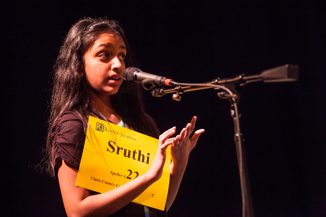 Twelve-year-old Sruthi Srinivas of Clark County competes in the first round of the Nevada State Spelling Bee at the Summerlin Library theater in Las Vegas on Saturday, March 1, 2014. (Chase Steven ...