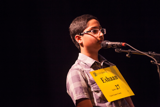 Twelve-year-old Eshaan Vakil of Clark County competes in the fourth round of the Nevada State Spelling Bee at the Summerlin Library theater in Las Vegas on Saturday, March 1, 2014. Raza won the 20 ...