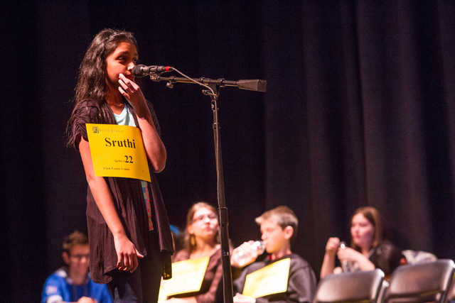 Twelve-year-old Sruthi Srinivas of Clark County competes in the second round of the Nevada State Spelling Bee at the Summerlin Library theater in Las Vegas on Saturday, March 1, 2014. (Chase Steve ...