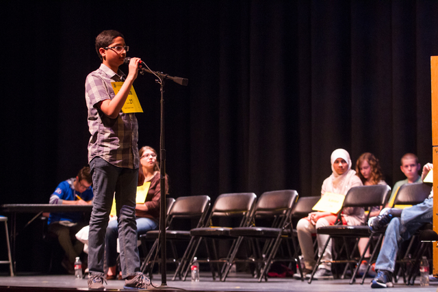 Twelve-year-old Eshaan Vakil of Clark County competes in the second round of the Nevada State Spelling Bee at the Summerlin Library theater in Las Vegas on Saturday, March 1, 2014. Raza won the 20 ...