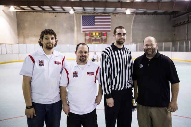 From left, assistant manager Eric Hernandez, co-owner Joel Hoopaugh, operations manager Nick Adimey and co-owner Adam Stio pose in the rink at the Southern Nevada Sports Centre, 3585 W. Diablo Dri ...