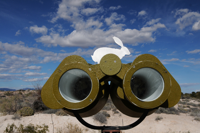 A set of fake binoculars look over the undeveloped site at the Springs Preserve. The Clark County Commission signed off Tuesday on a new 15-acre tortoise exhibit and a new operator for the cafe at ...