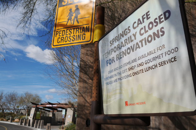 A closed sign is seen outside of the Springs Cafe at the Springs Preserve. The Clark County Commission selected a new operator for the cafe, DiVine Events, on Tuesday. The company will reopen the  ...