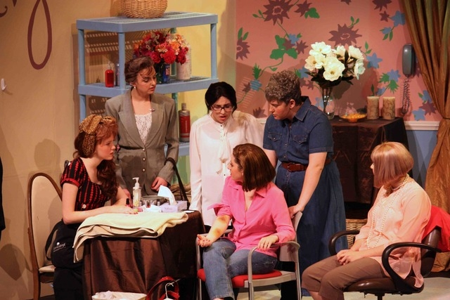 """Upper School students performed """"Steel Magnolias"""" Feb. 26 and 27 at the Adelson Educational Campus, 9700 Hillpointe Road. Having a discussion at Truvy's Beauty Parlor are, from left, 10th-grader ..."""