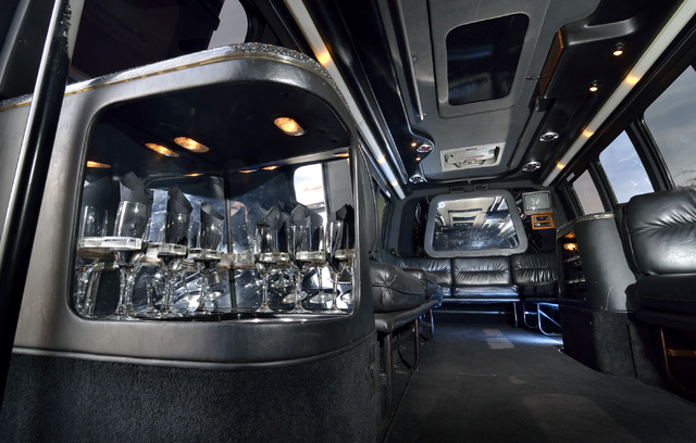 The interior of a 16-passenger limo coach is shown at AWG Ambassador limousine service. (Bill Hughes/Las Vegas Review-Journal)