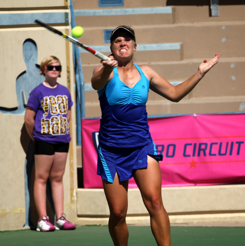 Melanie Oudin, right, faces off against CoCo Vandeweghe in the finals of the Party Rock Open tennis tournament at Darling Tennis Center in Las Vegas Sunday, Sep. 29, 2013. Oudin defeated Vandewegh ...