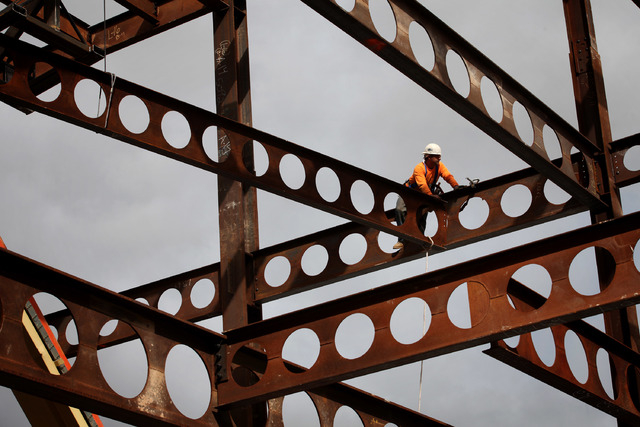 Construction is underway on a new phase of Tivoli Village in Las Vegas Thursday, Oct. 10, 2013.  (Jessica Ebelhar/Las Vegas Review-Journal)