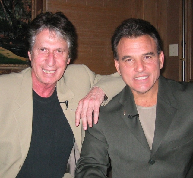 Comedy giant David Brenner and Las Vegas TV entertainment host and singer Tony Sacca. (Courtesy)