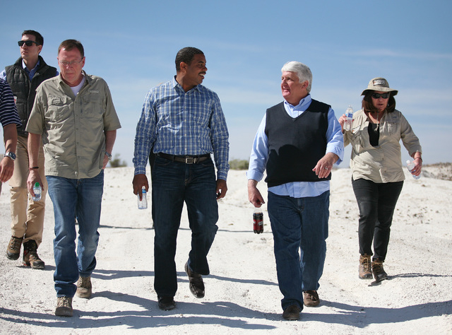 Jon Porter, former representative for Nevada's 3rd Congressional district, from front left, Rep. Steven Horsford, D-Nev., and Rep. Rob Bishop, R-Utah, tour a portion of the proposed Tule Sp ...